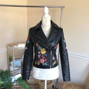 Romeo + Juliet Black Floral Moto Leather Jacket S